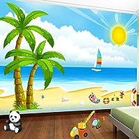 大きなポスターの壁の装飾の壁画キッズルーム漫画サンシービーチココナッツツリーフレスコ子供部屋の寝室の写真の壁画のカスタム壁紙-350cmx256cm(長いですx幅)