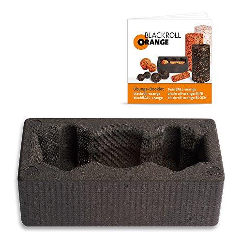Blackroll Orange Block - YogaBlock (Aufbewahrungsbox schwarz) für kleine Faszienbälle & Twinbälle - inkl. Übungsbooklet