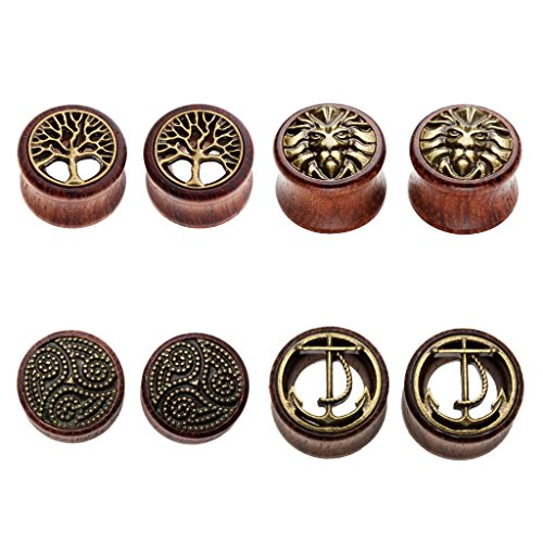PiercingJ Sono Holz Plug Set 4 Paare 8-20mm Double Flared Sattel Tunnel Plugs Ohrstecker Ohrpiercing Bronze Hohl Baum des Lebens Vintage + Bronze Löwenkopf + Bronze Anker + Bronze Totem Unisex Braun