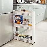 SoBuy FRG40-W Estantería de Cocina, estantería de baño con Ruedas, estantería para nichos - 3 bandejas, ES