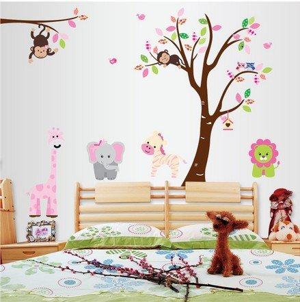 WallStickersDecal - Adesivi da parete, motivo: animali della giungla (leone, giraffa, elefante, zebra)