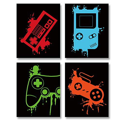 Video Game Art Print-Colorful Gaming Themed Canvas Wall Art (8'x10'x4pieces ,Unframed)-Perfect for Kids Boy Bedroom Decoration