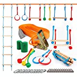 American Ninja Warrior Obstacle Course for Kids, Ninja Slackline Obstacle Course for Kids Backyard, Ninja Course for Kids Outside w/ 40 ft Ninja Line, Rope Ladder, Gymnastic Rings, Monkey Bars, Fists
