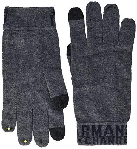 Armani Exchange A|X Herren Logo Knit Glove Handschuhe für kaltes Wetter, B Grau/Marineblau, Klein/Mittel