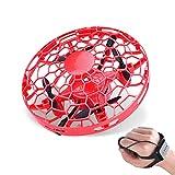 Regalos de Juguete para ni?o y ni?a Mini Mano Drone UFO Flying Toy Helicopter Hand Watch Induction con Coloridas Luces LED Rojo
