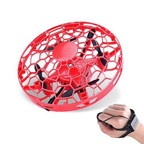 Xmipbs Regalos de Juguete para ni?o y ni?a Mini Mano Drone UFO Flying Toy Helicopter Hand Watch Induction con Coloridas Luces LED Rojo