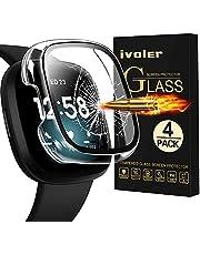 ivoler Ochraniacz ekranu kompatybilny z Fitbit Versa 3/Sense, 4 sztuki - twarde szkło hartowane PC osłona zderzaka do zegarka Fitbit Sense/Versa 3 paski do smartwatcha akcesoria