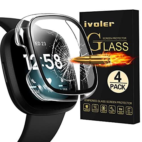 ivoler 4 Pack, Protector de Pantalla para Fitbit Versa 3 / Fitbit Sense, Vidrio Templado HD con PC Funda, Fundas Protectoras para Reloj Fitbit Versa 3/Sense