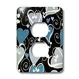 3dRose LLC lsp_40847_6 Blue Hearts On Black 2 Plug Outlet Cover