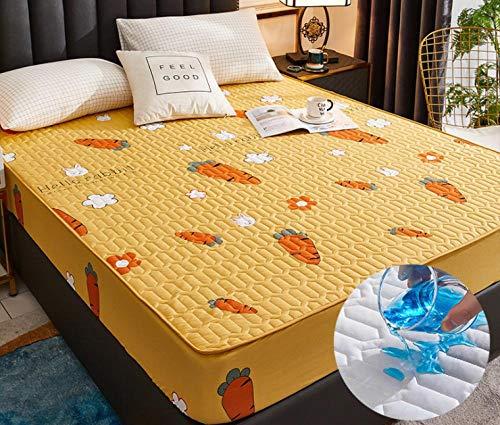 XLMHZP Protector de colchón Acolchado,Cubierta de Almohadilla de colchón Impermeable Sábana antiácaros Protector de colchón Impermeable para colchón de Cama Topper-D_135cmx200cm + 30cm