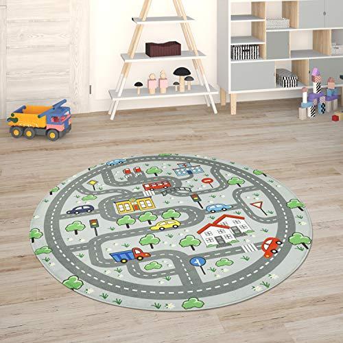 Paco Home Alfombra para Habitación Infantil Juegos Bebé Alfombras Infantiles Carreteras, tamaño:Ø 120 cm Redon, Color:Gris