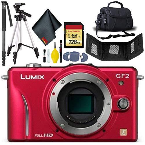 Best Prices! Panasonic Lumix DMC-GF2 Digital Micro Four Thirds Camera Body(Red) - 128GB Card - Card ...