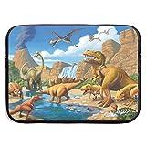 Adventure Dinosaur Bolso para portátil de 15 Pulgadas Bolso con Cremallera portátil Bolso para portátil, Resistente al Agua