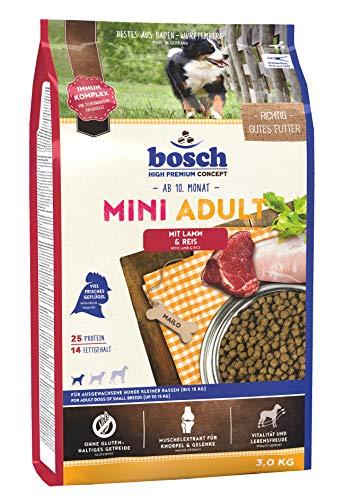 bosch HPC Mini Adult | con Cordero y Arroz | Comida seca para perros adultos de razas pequeñas | 3 kg ⭐