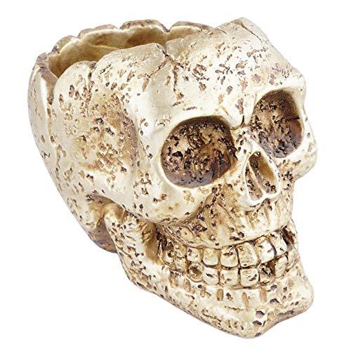 PETSOLA Retro Skull Flower Pot Gothic Resin Planter Holder Bar with Bottom Indoor