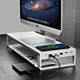 Aluminum Monitor Stand with Wireless Charing Pad and 4 USB 3.0 Ports,Support Transfer Data and Charging,Keyboard and Mouse Storage Desk Organizer up to 27inch for Computer MacBook PC (Silver))