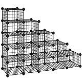 SONGMICS Zapatero Modular con 15 Cubos, Rejilla de Alambre de Metal, Estantería de...