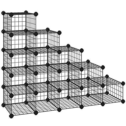 SONGMICS DIY Schuhregal, 15 Würfel Metalldraht Aufbewahrungssystem, modularer Steckregal, ineinandergreifender Schuhorganizer, inkl. Gummihammer und Kippschutz, Schwarz LPI44HS