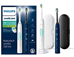 Philips Sonicare ProtectiveClean 5100 Elektryczna szczoteczka do zębów HX6851/34 Double Pack - 2 sound toothrushs with 3 Cleaning Programs, Pressure Control, Travel Cases - White/Blue