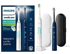 Philips Sonicare ProtectiveClean 5100 Brosse à dents électrique HX6851/34 Double pack - 2 brosses à dents sonores avec 3 programmes de nettoyage, contrôle de pression, étuis de voyage - Blanc/Bleu