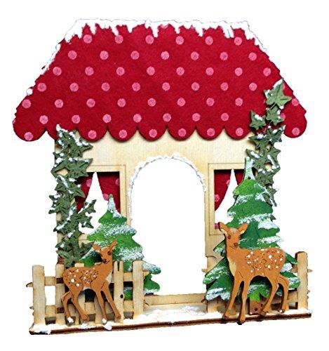 Petra's knutsel-News huisje met hertenknutselset, hout, houtkleuren 25 x 18 x 5 cm