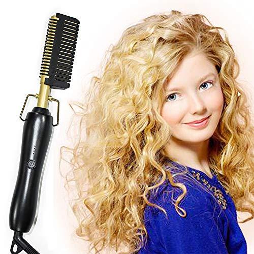 JYZ Peigne Lisseur Cheveux Bouclés Double Usage Multifonctionnel - Brosse Lissante Chauffante Rapide, Convient pour la Maison et Les Voyages, pour Les Dames