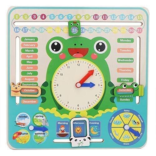 JACKWS Calendrier Horloge en Bois, Tous Les Enfants Aujourd'hui Calendrier Mon Conseil première Horloge Cognitive Toy for Les Tout-Petits garçons et Filles 3 Ans de + (Couleur: Vert) (Color : Green)