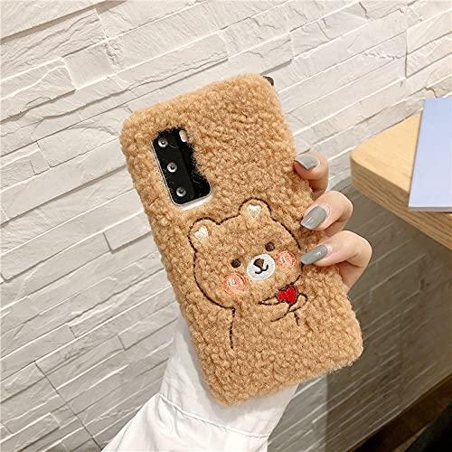 Lindo Conejo Oso de Peluche Funda para Samsung Galaxy S20 FE Ultra S10 Lite 5G S9 S8 Plus S7 S6 S5 S4 S3 Mini J3 J4 J8 2018 Funda de teléfono, Chocolate, para S3 Mini