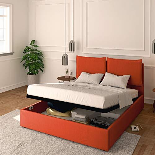 Baldiflex Cama individual con contenedor modelo Licia de tela, somier de láminas, para colchones individuales de 90 x 200 cm, cabecero de lujo acolchado, color naranja