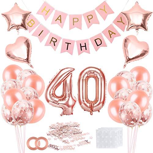 Cumpleaños Globos 40, Decoración de cumpleaños 40 en Oro Rosa, Feliz cumpleaños Decoración Globos 40 Años, 40 Globos de Confeti y Globos de Aluminio para niñas y Mujeres