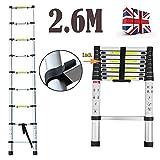 2.6m Multi-Purpose Aluminium Telescopic Ladder Extension Extendable Step 9 Step for Loft Indoor Outdoor Office - 2 Yr Warranty
