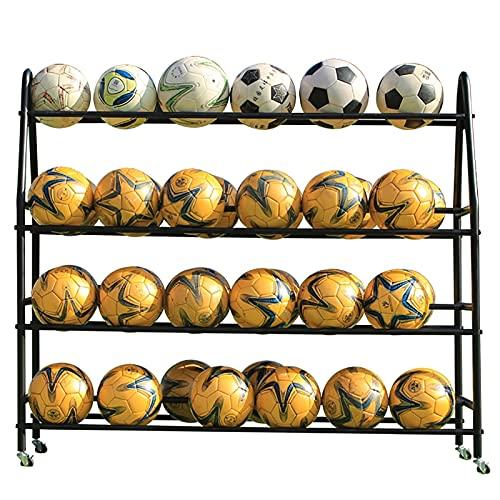 SSZY Estante de Pelota Estante de Almacenamiento de Balones de Fútbol de Baloncesto de 4 Niveles para Trabajo Pesado, con Ruedas y Asa (Color : Black)