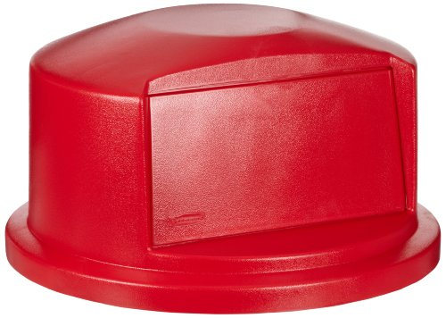 Rubbermaid Commercial Heavy-Duty BRUTE Dome Swing Top Door Lid for 32 Gallon Waste/Utility Containers, Plastic, Red (FG263788RED)