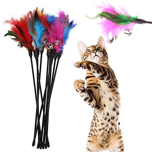 Juguete para gato Lumanuby de 4 piezas las plumas largas de la cuerda toman el pelo juguete de plumas juguete interactivo con campana
