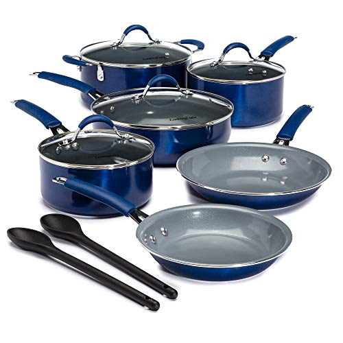 Cooking Light Allure Non-Stick Ceramic Cookware Multipurpose Use, Silicone Stay Cool Handle, Easy Clean, 12 Piece Set, Blue