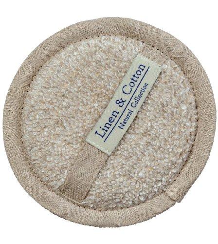 Linen & Cotton, Spugna Naturale Da Bagno, Doccia Naturale ARIA - 60% Lino, 40% Cotone (15cm) Naturale