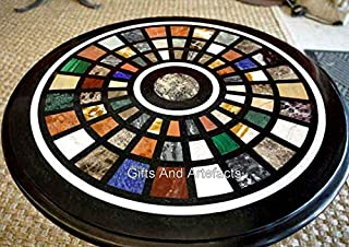 Gifts And Artefacts - Mesa de centro con incrustaciones de mármol con incrustaciones de piedras preciosas (45 cm)