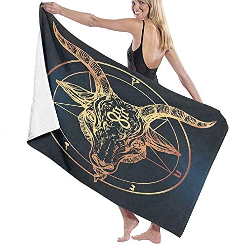 SUDISSKM Toalla de Playa de Playa de Microfibra Grande,Pentagrama-con-Demon-Baphomet-Satanic-Goat-Head-Binary-Symbol-Tattoo-Retro-Music (1),Toalla de Baño Suave de Secado Rápido 130x80CM