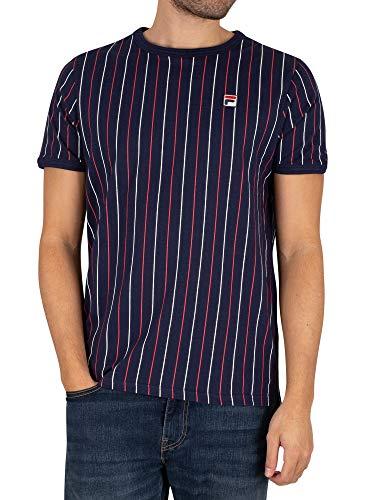 Fila de los Hombres Camiseta de Rayas Mica, Azul, L