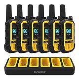 DEWALT DXFRS300 1 Watt Heavy Duty Walkie Talkies - Waterproof, Shock Resistant, Long Range & Rechargeable Two-Way Radio with VOX (6 Pack w/ Gang Charger) (DXFRS300-BCH6)
