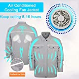 Cooling Fan Jacket Men Air Condition Jacket Sun Protection Coat Work Fishing Cycling Clothes for Summer Outdoor Gray