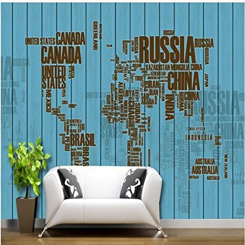 Pbbzl Behang 3D mediterrane stijl letter kaart hout retro achtergrond behang woonkamer slaapkamer muur 280 x 200 cm
