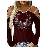 t Shirt Manica Lunga Regali di Natale Magliette Casual a Maniche Lunghe con Borchie scollate alla Moda da Donna (XL,3Rosso)