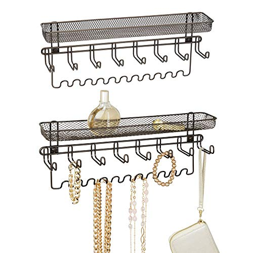 mDesign Closet Wall Mount Men's Accessory Storage Organizer Rack - Holds Belts, Neck Ties, Watches, Change, Sunglasses, Wallets - 19 Hooks and Basket - 2 Pack - Bronze