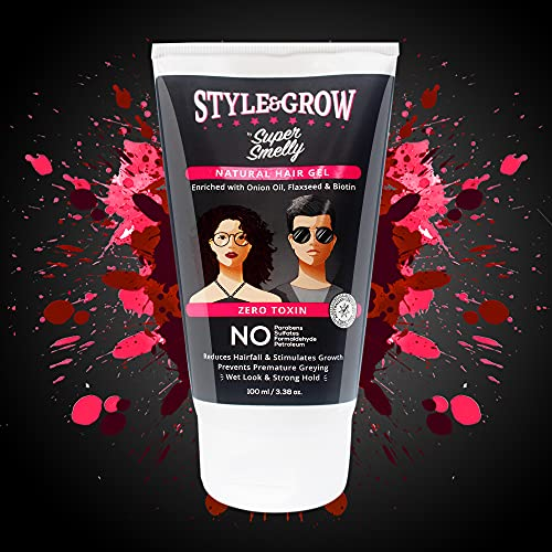 Super Smelly Style & Grow Natural Hair Gel | With Onion Oil, Flaxseed and Aloe-Vera | For Styling and Strong Hold with Wet Look | For Women and Men | For All types of Hair | 100 ml |