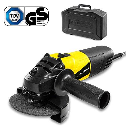 TROTEC Winkelschleifer PAGS 10-115 inkl. Koffer mit 115 mm Trennscheibe, Zusatzhandgriff, 500 Watt, konstante Drehzahl von 12.000/min