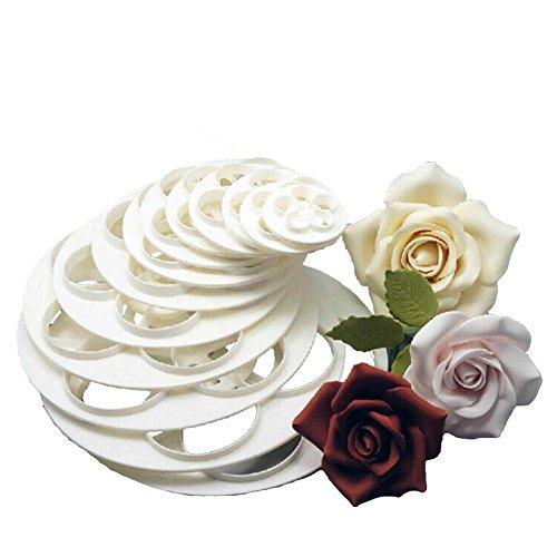 Gemini_Mall stampi tagliapasta a forma di rose, per pasta di zucchero, biscotti, cake design, decorazione torte, 6 pezzi