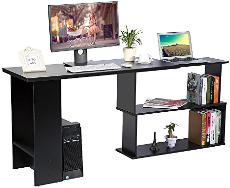 Cocoarm Eckschreibtisch Schreibtisch Winkelkombination PC-Tisch Bürotisch mit Regal Mbel für Home Office 120 x 89 x 74 cm (Schwarz)