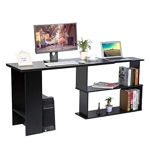 Cocoarm Eckschreibtisch Schreibtisch Winkelkombination PC-Tisch Bürotisch mit Regal Möbel für Home Office 120 x 89 x 74 cm (Schwarz)
