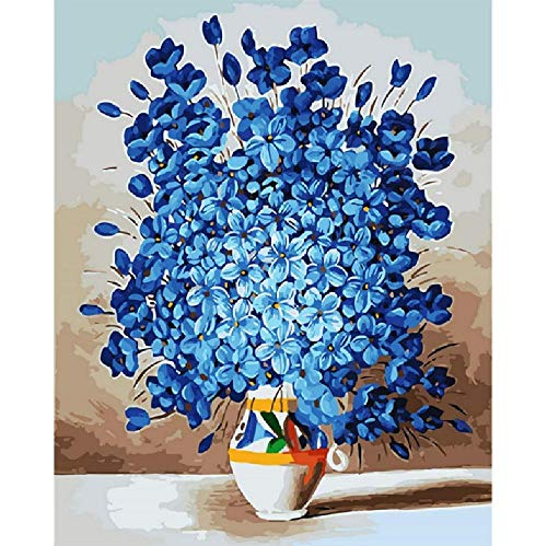 Malen Nach Zahlen DIY Blue Spring Flowers Bloom Blume Leinwand Hochzeitsdekoration Kunst Bild Geschenk 40 * 50CM Kein Bilderrahmen